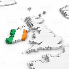 3d map of ireland with irish flag on white background 3d