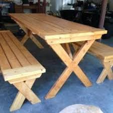 Free Plans Round Wood Picnic Table by Custom Made Large Thrubolt Picnic Tables By Midcenturywoodshop