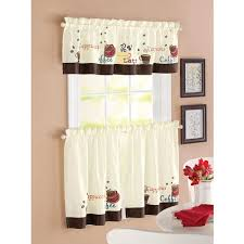 kitchen curtains better homes and garden coffee window kitchen curtains set of 2