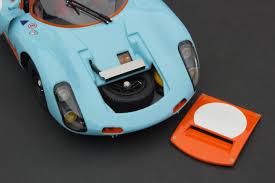 vintage orange porsche exoto 1 18 1967 porsche 910 gulf livery vintage racing diecast