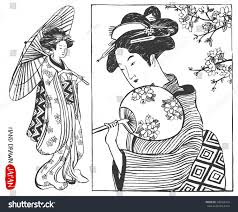 set japan design elements geisha woman stock vector 345762434