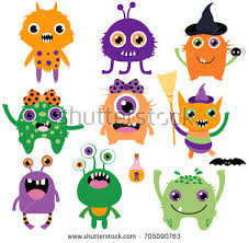 funny colors cute funny silly vector monsters halloween stock vector 705090763