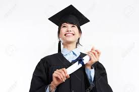 graduation robe asian student in graduation robe posing in a white