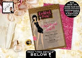 girls night out invitations cocktail party pink and gold
