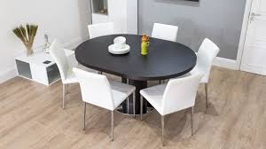 round extending dining room table and chairs dark wood round extending dining table white or grey faux leather