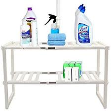 Kitchen Sink Shelf Organizer by Amazon Com Decobros Under Sink 2 Tier Expandable Shelf Organizer
