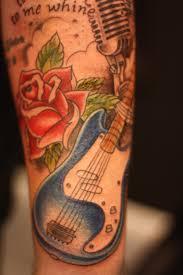 roses arm sleeve tattoo ink tattoo old rose guitar rockabilly punk tattoo