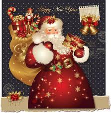 christmas card reindeer santa claus free vector download 17 883