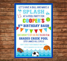 boy invitation sports baseball football basketball pool birthday