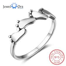 baby rings jewelry images Women solid 925 sterling silver four feet ring silver baby feet jpg