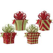 raz flocked present ornament set of 4 4 assorted styles