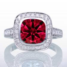 1 5 carat cushion cut ruby and diamond halo vintage engagement