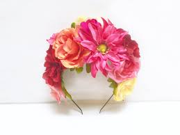 day of the dead headband mexican flower crown pink orange frida kahlo headpiece mexican