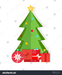christmas tree gifts flat design style stock vector 225049528