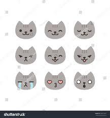 set cat emoticons simple cute cartoon stock vector 308077229