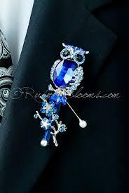 Royal Blue Boutonniere Royal Blue Crystal Owl Groom Brooch Lapel Pin