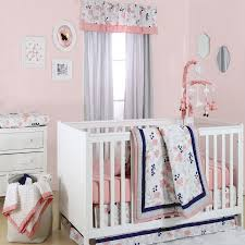 the peanut shell 4 piece baby crib bedding set coral navy