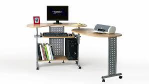 Computer Schreibtisch Buche Twin In Buche Drehbare Ablage Und Rollen 120 170 Cm