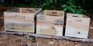 set of three 3 wooden crates reclaimed wood bookcase