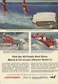 johnson outboard motor boat show original 1964 vintage color print