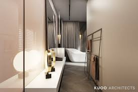 a luxury apartment with comfortable furniture and a double height