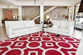 White Sofa Decorating Ideas Contemporary Red Rugs With White Striped Color Also White Sofa