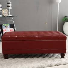 burgundy red waxed texture faux leather storage bench ottoman with