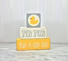 Duck Bathroom Decor Yellow Rubber Duck Kids Bathroom Decor Wood Blocks U2022 Apple