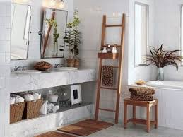 using ladders for beautiful diy bathroom storage ideas