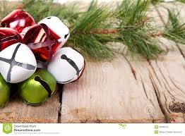 jingle bells and a pine branch stock photo image 34985276