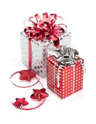 Red And Silver Wedding Two Red And Silver Gift Boxes With Ribbons And Christmas Decor