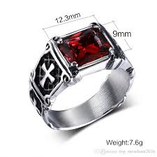 black finger rings images Gothic iron cross finger ring with red black ruby black band jpg