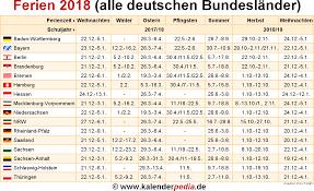 Ferienkalender 2018 Bw Ferien 2018 In Deutschland Alle Bundesländer Schulferien 2018