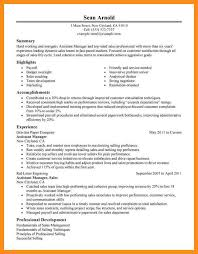 Payroll Manager Resume 9 Sample Assistant Manager Resume Agenda Example