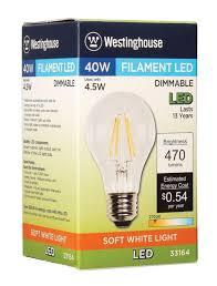 westinghouse a19 4 1 2 watt 40 watt equivalent medium base clear