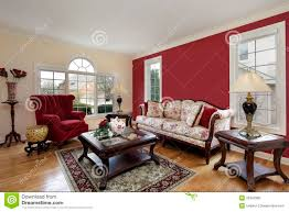 cream colored living rooms living room with red and cream colored walls stock image image