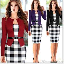 grid design slim fit professional dress with belt long sleeve