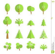 set of stylish trees flat design stock vector image 71855891