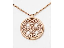 monogrammed pendant necklace lyst michael kors open monogram pendant necklace 16 in pink