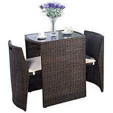 Rattan Patio Table And Chairs Amazon Com Outsunny 3pc Table And Chair Rattan Wicker Patio