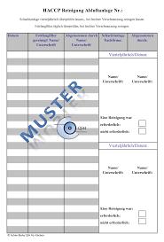reinigungsplan küche haccp checklisten für küchen haccp excel formular dokumentation