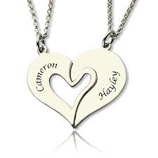 personalized necklaces for couples personalized breakable heart name necklace for couples silver