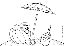 summer beach coloring pages for kids free printable coloing