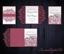 roses set cricut wedding invitation template gate fold