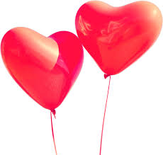 two heart shaped helium balloons png image