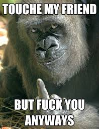 Gorilla Memes - touche my friend but fuck you anyways fuck off gorilla funny f ck