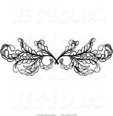 vector of black leafy swirl butterfly tattoo design element border