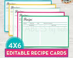 recipe cards etsy uk