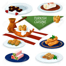 cuisine ottomane and ottoman cuisine desserts with coffee icon