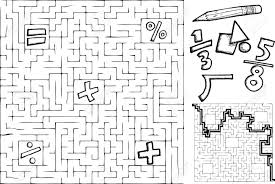 coloring page math maze with interchangeable symbols with solution